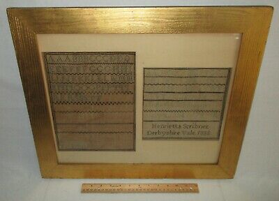 Antique 19th C Linen Childs Alphabet Samplers Embroidery Pair Framed 1834 1838