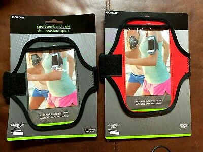 TWO Universal Sports Running Arm Band Phone Case Holster Adjustable Red - Gray