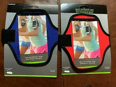 TWO Universal Sports Running Arm Band Phone Case Holster Adjustable RED - BLUE