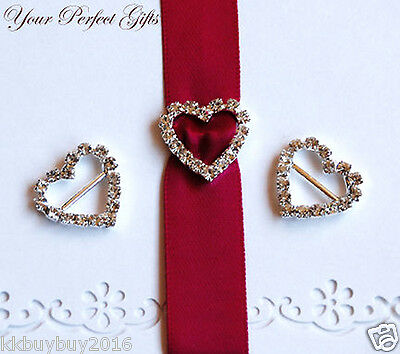10 pcs HEART Wedding Invitation Rhinestone Crystal Buckles