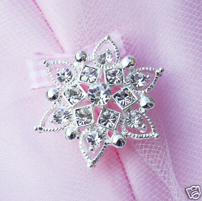 10 Round Rhinestone Crystal Button Buckle Wedding Invitation Scrapbooking BT086