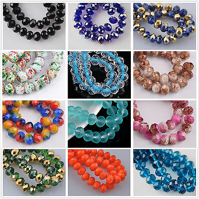 72pcs 8mm Rondelle Faceted Crystal Glass Loose Spacer Beads Findings 200- Colors