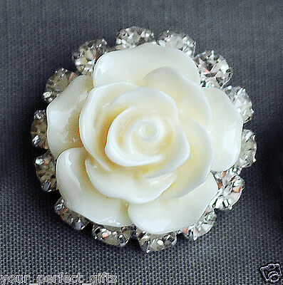 10 Rhinestone Button Crystal Ivory Resin Rose Hair Clip Wedding Invitation BT135