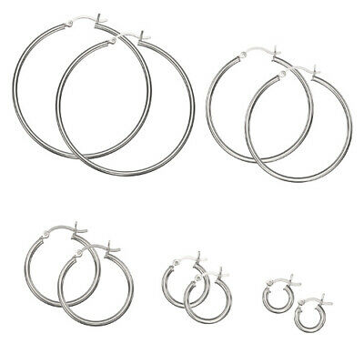 -925 Sterling Silver Plain 2mm Thin Polished Round Hoop Earrings - CHOOSE A SIZE