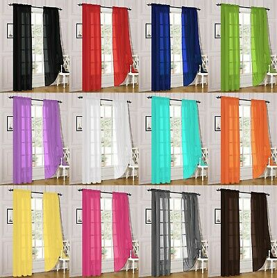 2 Piece Sheer Voile Rod Pocket Window Panel Curtain Drapes Many Sizes - Colors