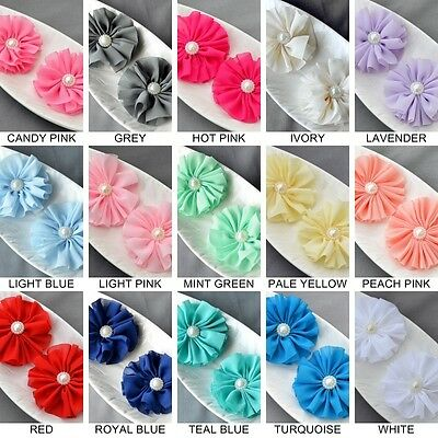 6 Chiffon Flowers Soft Fabric Pearl Center Silk Flower Bridal Wedding Supplies