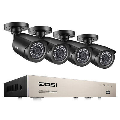 ZOSI 8CH H-265- 5MP Lite DVR 1080P Outdoor CCTV Home Security Camera System Kit
