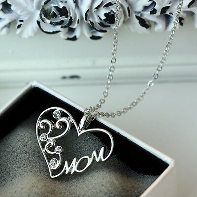 Mothers Day Gift Mom Charm Silver Crystal Heart Pendant Necklace Chain Love