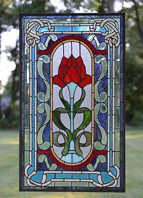 20 x 34 Handcrafted Tiffany Style stained glass window panel A big Rose flower