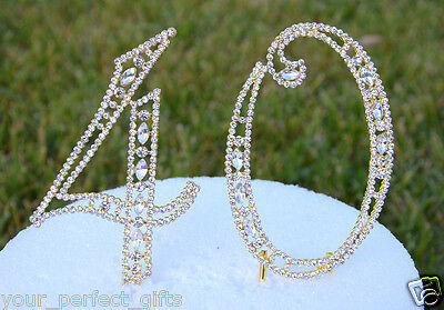 5 Rhinestone Gold Number forty 40 Bling Cake Topper Birthday Anniversary Party