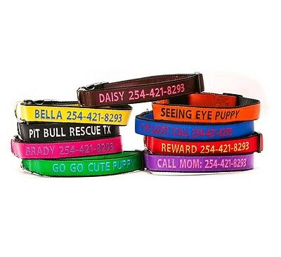 Embroidered Personalized Dog Collar Extra Durable Extra Tough GO GO CUTE PUPPY