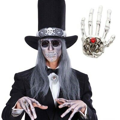 SKELETTHAND RING GOTHIC FINGERRING KNOCHENHAND SKULL SCHMUCK SKELETT HALLOWEEN