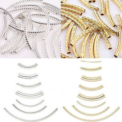 Silver Gold Curved Tube Elbow Spacer Loose Beads Connectors Jewelry Findings