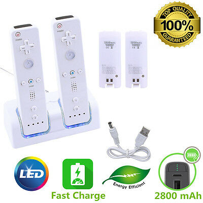 2 Rechargeable Battery - Dual Charger Charging Dock Station For Nintendo Wii