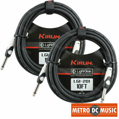 2-Pack Kirlin 10 ft Guitar Instrument Patch Cable Cord Free Cable Tie 14 NEW
