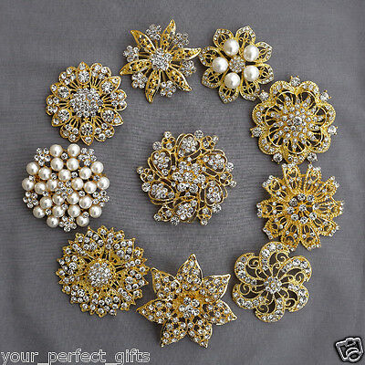 10 Rhinestone Brooch Gold X LARGE Pearl Crystal Wedding Bridal Brooch Bouquet