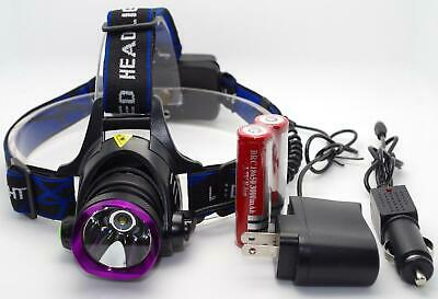 5000LM LED Rechargeable Headlight Headlamp Flashlight - 2x18650 - Charger