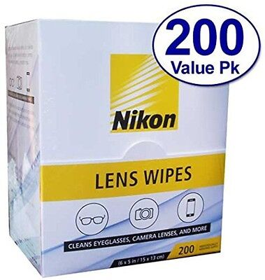 Nikon Pre-Moistened Lens Cloths Wipes 200 Ct Glasses Camera Phone Cleaning New