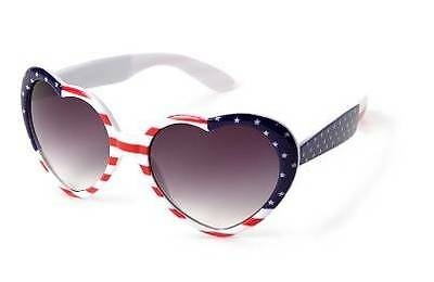 Fourth of July AMERICAN FLAG Heart SUNGLASSES  Adult One Size  NEW