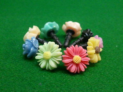 Phone Charm Dust Plug   12 Pc Assorted Flowers - Candy 3-5mm