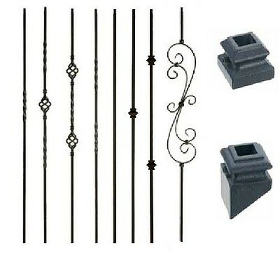 Iron Balusters Metal Spindles Stair Parts Twists Baskets Scrolls - Satin Black