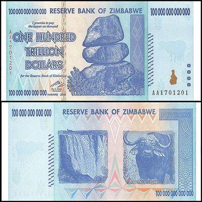 Zimbabwe 100 Trillion Dollars AA 2008 P-91 UNC 100 Trillion Series