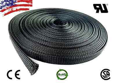 50 FT 38 Black Expandable Wire Cable Sleeving Sheathing Braided Loom Tubing US