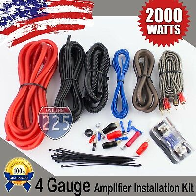 Red 4 AWG Gauge Amplifier Installation Wiring Complete Kit - RCA Interconnect US