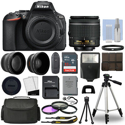 Nikon D5600 Digital SLR Camera Black - 3 Lens 18-55mm VR Lens - 32GB Bundle