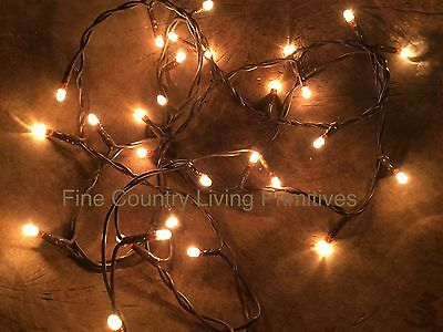 Primitive Country Christmas Teeny Rice String Lights on Brown Cord  35 Count