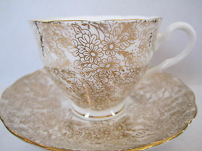 COLCLOUGH ENGLISH BONE CHINA TEA CUP - SAUCER WHITE BASE GOLD FLORAL PATTERN