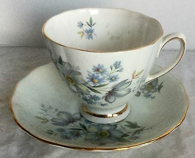 Vintage Colclough Bone China Light Blue and Gold pattern - Cup and Saucer