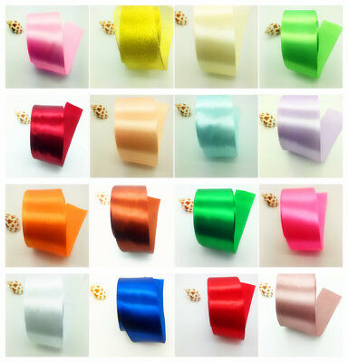 New 5yds  2 50mm Wide Satin Ribbon Bow DIY Craft Sewing Supplies Pick Colors
