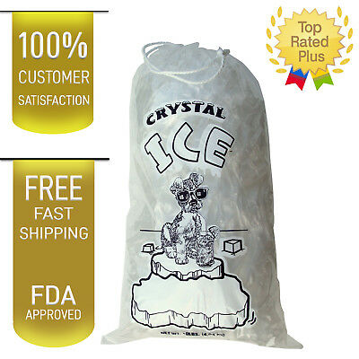 10 LB LBS Commercial Ice Bag Bags Drawstring 102550100150200-5001000