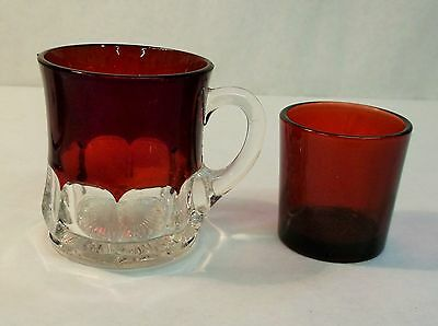 Ruby Red Flash and Clear Glass Demitasse Cup and AH ruby red votive