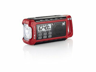Midland ER210 E-Ready Compact Emergency Weather Radio CrankSolar Powered - Red