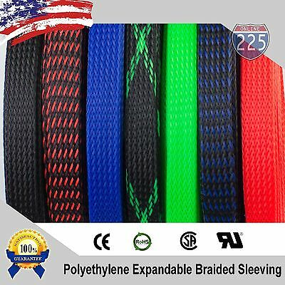 ALL SIZES - COLORS 5 FT - 100 Feet Expandable Cable Sleeving Braided Tubing LOT