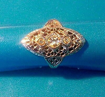 Vintage Sterling Silver Wide Filigree Ring w3 Crystals - Size 8