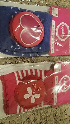 Lot of 2 NEW Wootie Baby Knee Pads for Crawling - Hearts and Butterflies