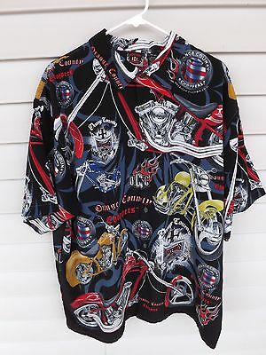 Orange County Choppers Casual Short Sleeve Button Front Shirt Mens Size 2XL