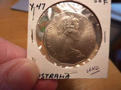 1971 Australia Fifty 50 Cent Coin BU Brilliant Uncirculated