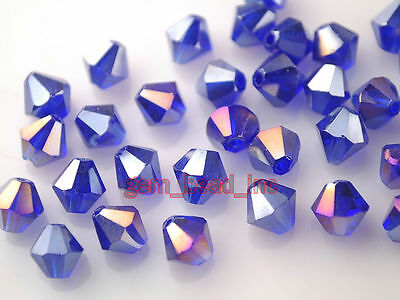 Bulk 200pcs Royal Blue AB Glass Crystal Faceted Bicone Beads 4mm Spacer Findings