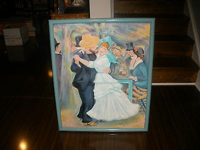 Antique-style Impressionist Painting Couple Dancing Oil On Canvas Artist Signed