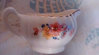 Vintage W- S George Bolero Creamer With Floral Pattern and Gold Rim