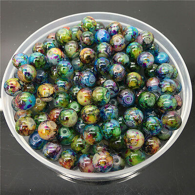 New 8mm 30Pcs Double Colors Glass Round Pearl Loose Beads Jewelry Making 8m63