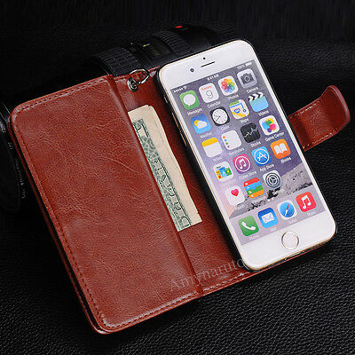 Magnetic Filp Leather Cover Case Wallet Purse Card Cash Holder For iPhone 6 Plus