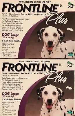 Frontline Plus for Large Dogs 45-88lbs 20-40kg 6 Pack For 6 Month Supply New