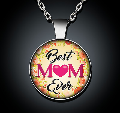 Mothers Day Gift Necklace Best Mom Ever Silver Pendant New Jewelry Present