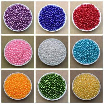 100PCS 6mm 8mm 20 Colors Pearl Spacer Beads Craft ABS Plastic Loose Beads DIY