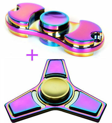 2 Pack Fidget Spinner Rainbow Metal Hand Spinner Finger Gyro Toy ADHD Autism